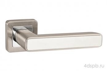 Дверная ручка Punto - MARS QR SN/WH-19 матовый никель/белый
